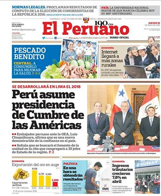 Perú asume presidencia de Cumbre de las Américas